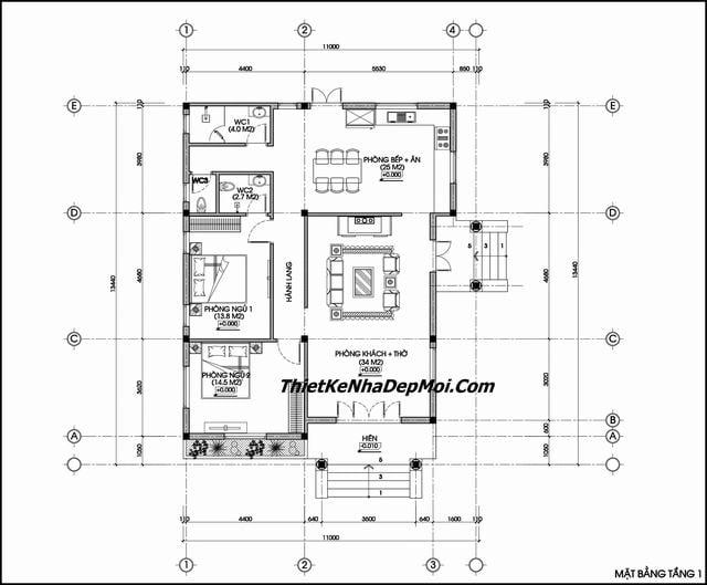 Bản vẽ thiết kế nhà cấp 4 mái thái hiện đại ngang 12m