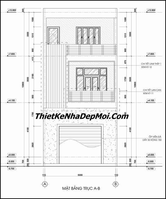 Bản vẽ mặt đứng nhà phố 5x20m 2 tầng 1 tum