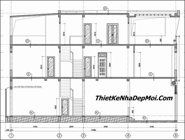 Bản vẽ nhà 2 tầng 1 tum đẹp 2019