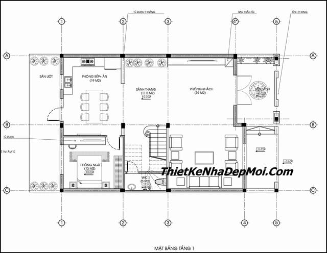 Thiết kế nhà rộng 9m