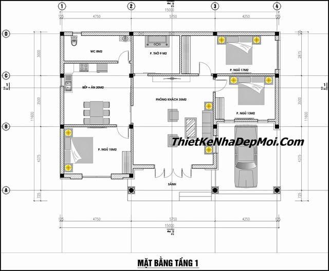 Bản vẽ nhà 1 tầng 3 phòng ngủ 1 phòng thờ