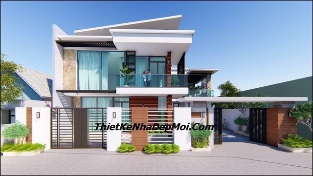 mẫu nhà villa đẹp 2 tầng