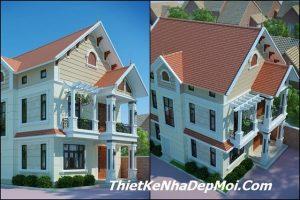 Bản vẽ thiết kế nhà biệt thự 2 tầng mái thái