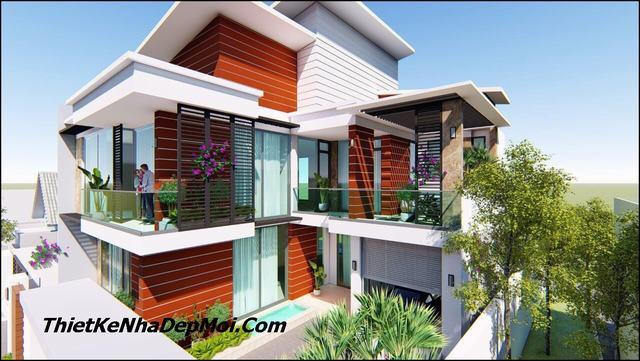 Nhà villa 2 tầng chữ L đẹp