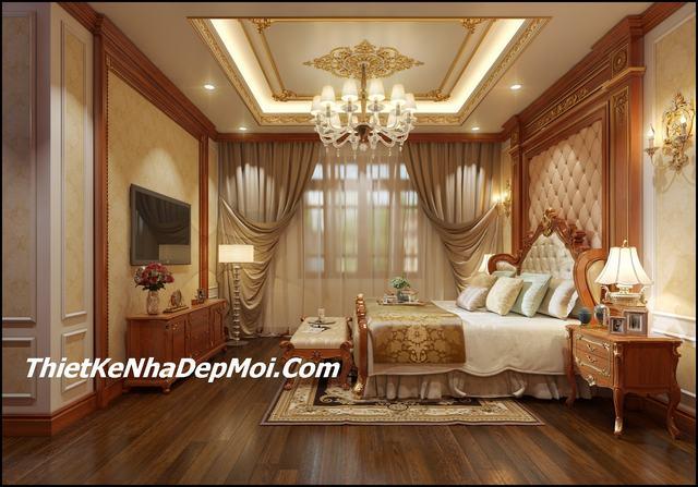 Phòng ngủ được giảm ánh sáng nhưng vẫn dễ dàng tiết chế nhờ cửa kính và các lớp rèm