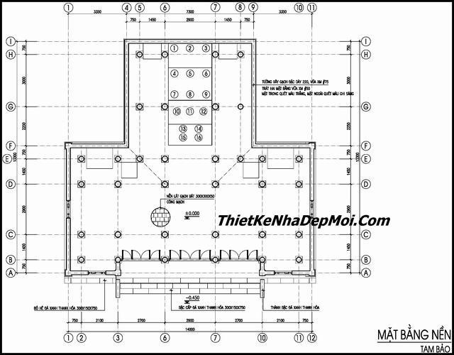 Bản vẽ xây chùa 1 tầng