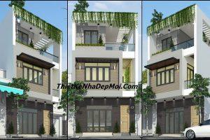 thiết kế nhà 2 tầng 1 tum 3 phòng ngủ