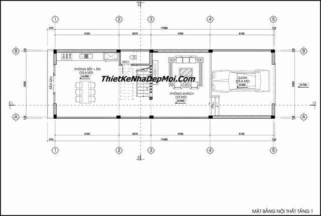 Bản vẽ nhà ống 2 tầng 1 tum 5x20m