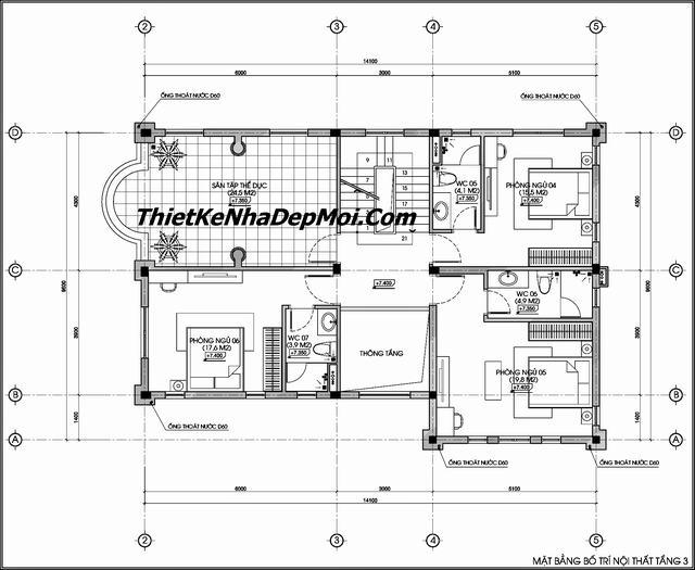 bản vẽ biệt thự 3 tầng 10x15m