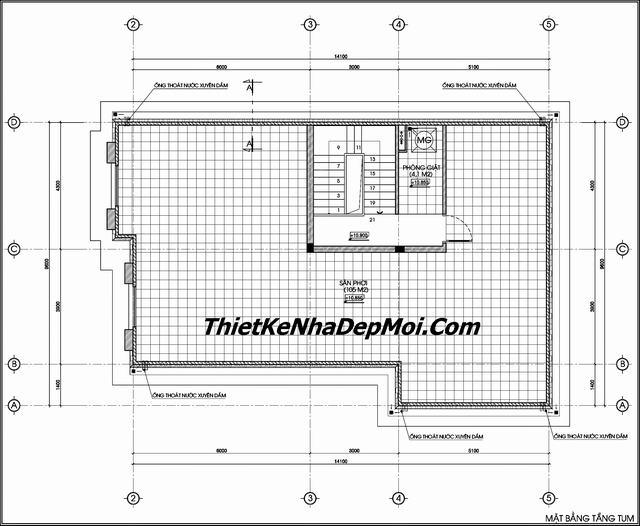 Bản vẽ tầng tum biệt thự pháp cổ hà nội 3 tầng
