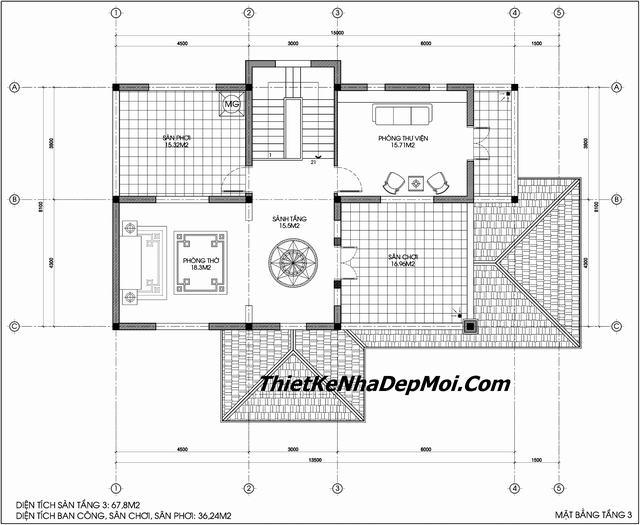 Mặt bằng biệt thự châu âu 2 tầng 1 tum