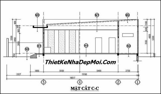 Bản vẽ nhà ống 1 tầng 3 phòng ngủ