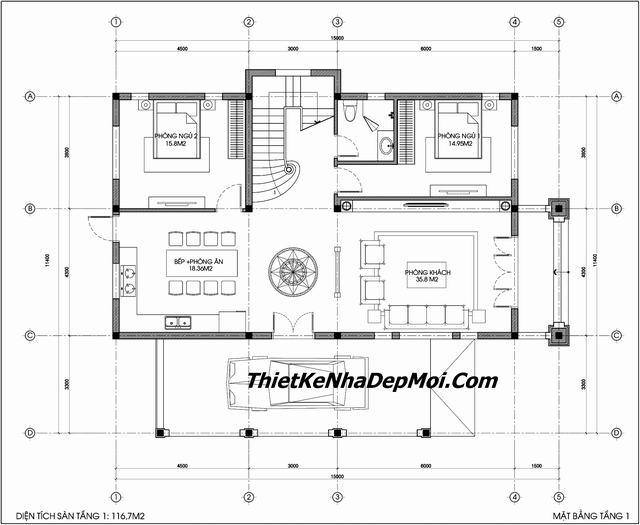 Thiết kế biệt thự 2.5 tầng 11x15m mb 1