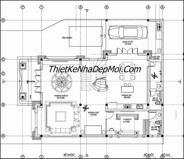 Bản vẽ biệt thự 3 tầng 13x17m