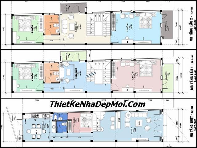 Thiết kế nhà đẹp 3 tầng 80m2