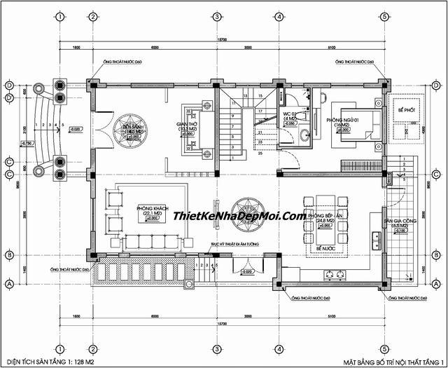 Bản vẽ biệt thự 3 tầng kiến trúc pháp