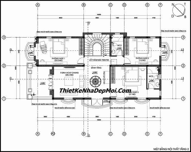Mặt bằng biệt thự 2 tầng 8x16