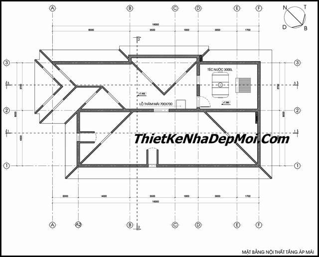 Bản vẽ kiến trúc nhà 2 tầng mái ngói 8x16m