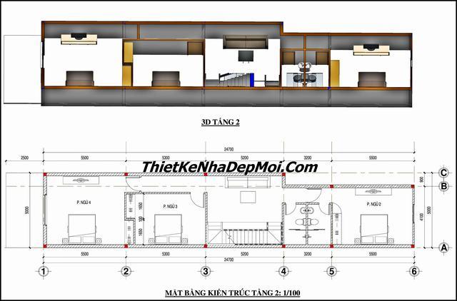 Bản vẽ nhà xây nhà thóp hậu 5m