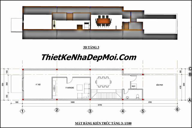 mẫu thiết kế nhà thóp hậu 3 tầng 120m2