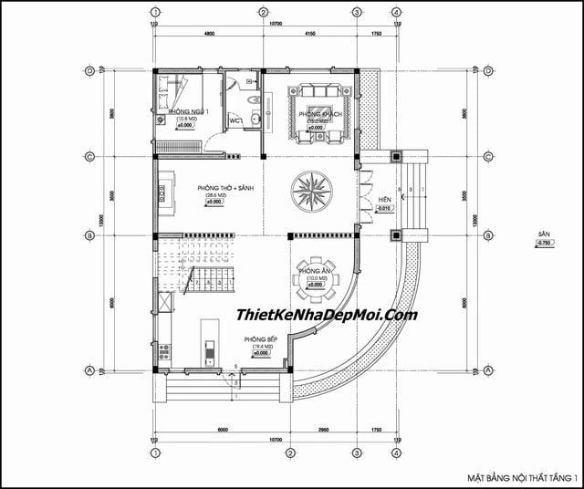 Thiết kế nhà 2 tầng mái thái 10x14m