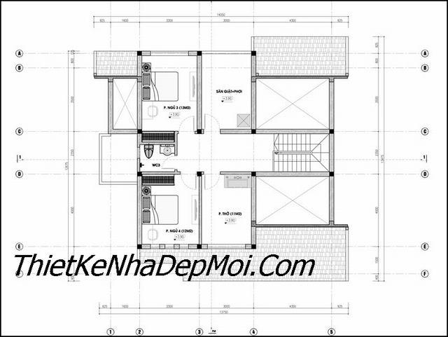 Bản vẽ xây nhà mái thái có gác lửng