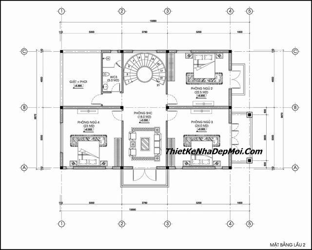 Bản vẽ biệt thự 3 tầng 2 mặt tiền