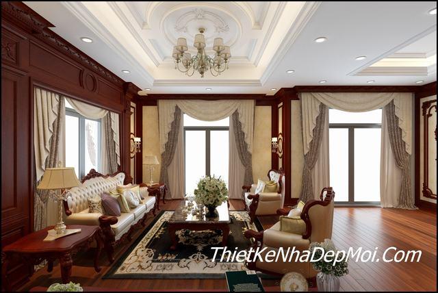 Phòng khách biệt thự tân cổ điển view 1