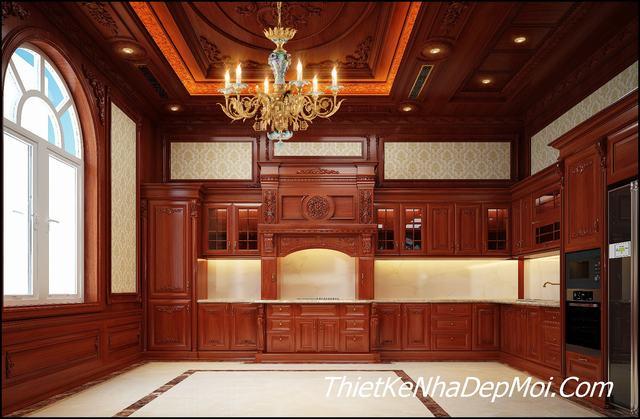 Không gian bếp biệt thự tân cổ điển 1 trệt 2 lầu
