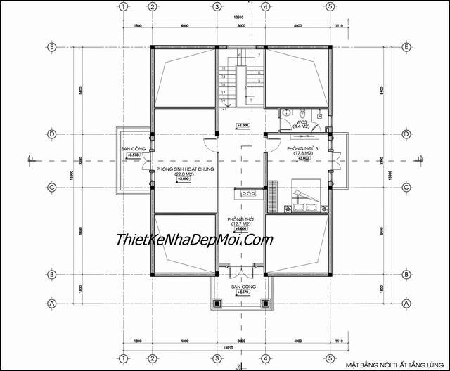 Bản vẽ thiết kế nhà có tầng lửng 2019