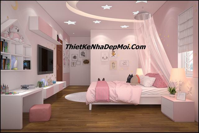 Nội thất phòng ngủ con gái đẹp 20m2