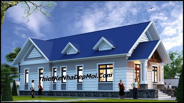 Mẫu thiết kế nhà cấp 4 3 phòng ngủ 1 phòng thờ