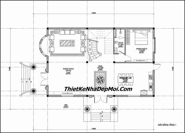 Thiết kế biệt thự 2 tầng 1 tum 170m