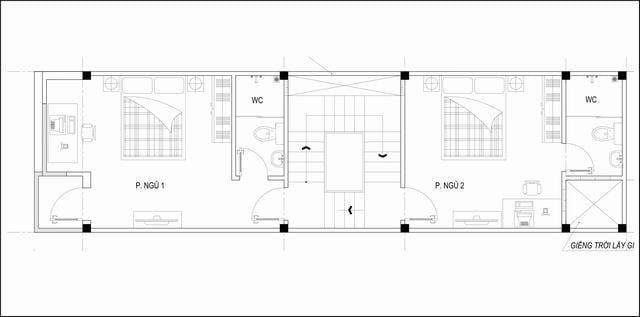 Bản vẽ nhà ống lệch tầng 4m