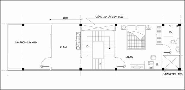 Thiết kế nhà 54m2 3 tầng