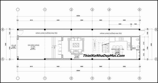 Bản vẽ nhà ống kết hợp kinh doanh 5.3m
