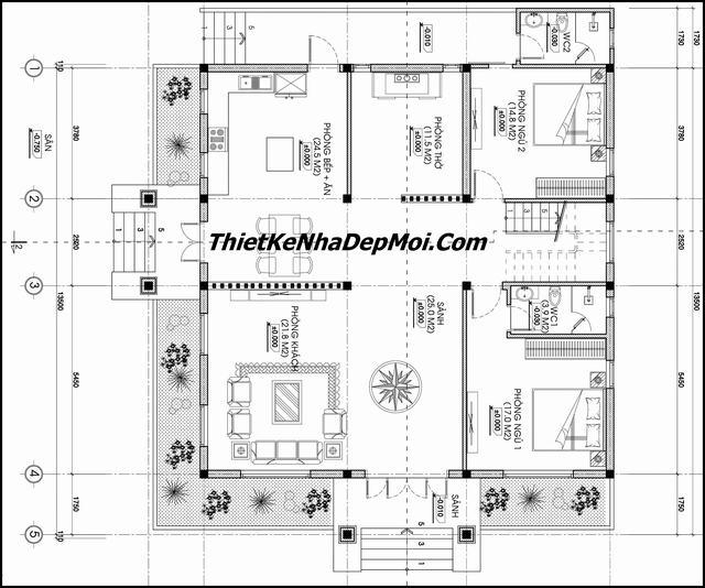 Bản vẽ nhà 1 tầng 2 phòng ngủ hình vuông