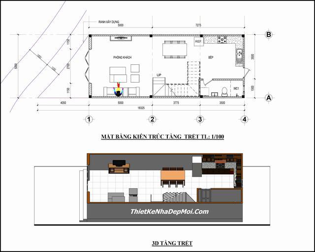 bản vẽ nhà ống 1 trệt 2 lầu 5x12m