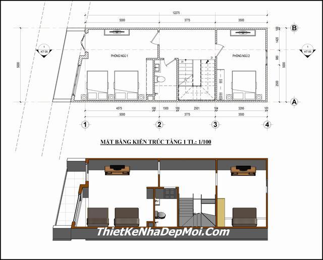 Thiết kế nhà 3 tầng 60m2 5x12m