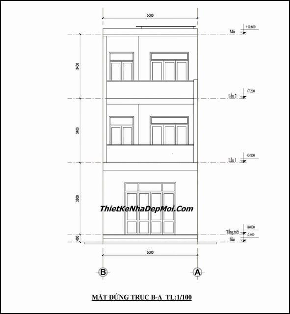 xây nhà 3 tầng diện tích 5x12