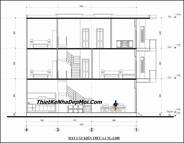 Thiết kế nhà ống 3 tầng 60m2