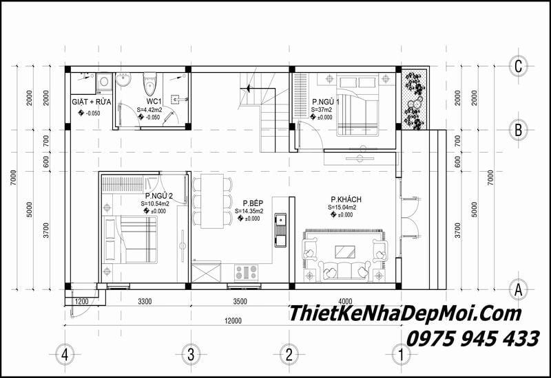Thiết kế nhà 2 tầng 4 phòng ngủ đơn giản