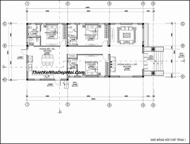 Bản vẽ nhà cấp 4 có 3 phòng ngủ mái thái