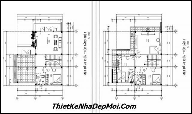 Bản vẽ nhà vuông 2 tầng 10x10m
