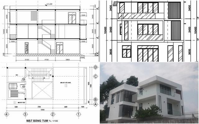Biệt thự 3 tầng 6 phòng ngủ kiến trúc biệt thự mini 100m2