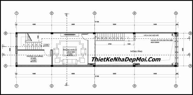 Thiết kế nhà ống có tầng lửng kinh doanh