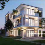 Biệt thự hiện đại 3 tầng kiến trúc mái bằng 7x14