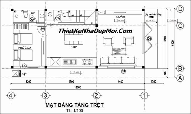 Bản vẽ thiết kế nhà phố 3 tầng 7x15m