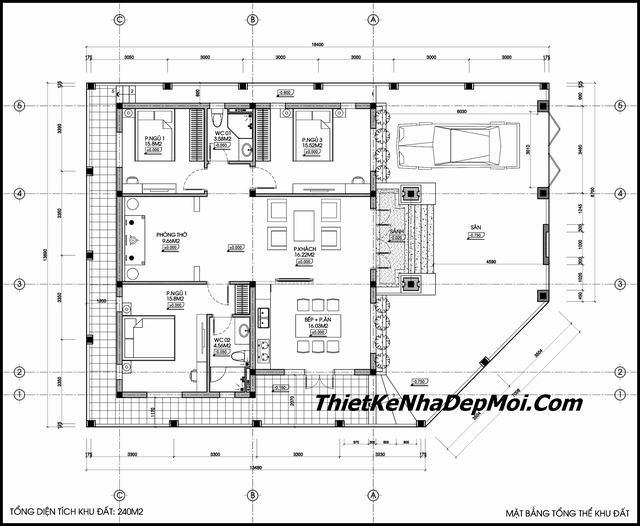 Bản vẽ mẫu biệt thự mini 1 tầng mái thái đẹp hiện đại ở Thái Nguyên