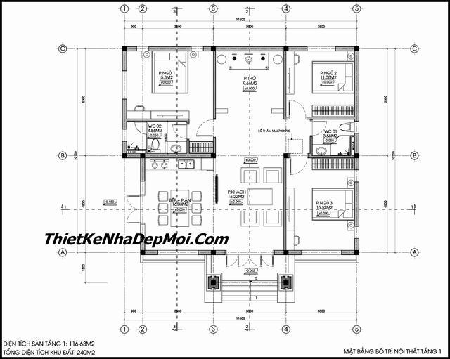 Bản thiết kế biệt thự mini cấp 4 2 mặt tiền đẹp 3 phòng ngủ 120m2